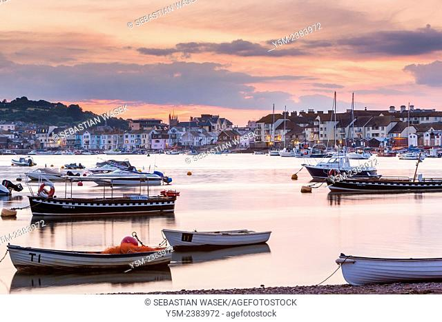 View from village of Shaldon towards Teignmouth at the mouth of the River Teign, Devon, England, United Kingdom, Europe