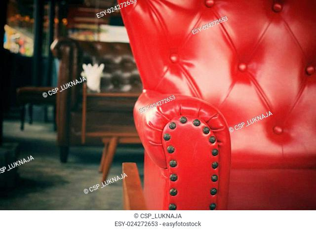 Vintage red leather sofa