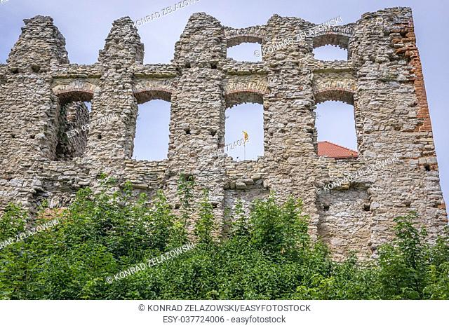 Walls of Gothic castle in Rabsztyn village, part of the Eagles Nests castle system in Lesser Poland Voivodeship of Poland