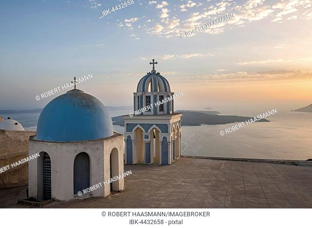 Blue dome and belfry, Firostefani, Santorini, Cyclades, Greece