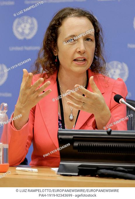 United Nations, New York, USA, July 11 2017 - Sophie Mirgaux, Senior international negotiator for Belgiums Department for the Marine Environment Press...