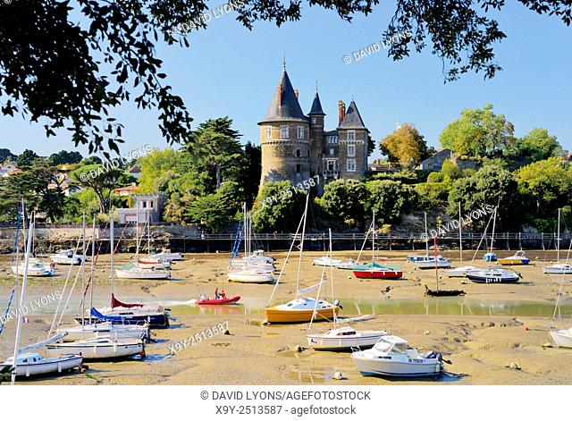 Chateau de Pornic restored mediaeval castle once property of Gilles de Rais. Port of Pornic, Brittany, France. Bluebeards Castle