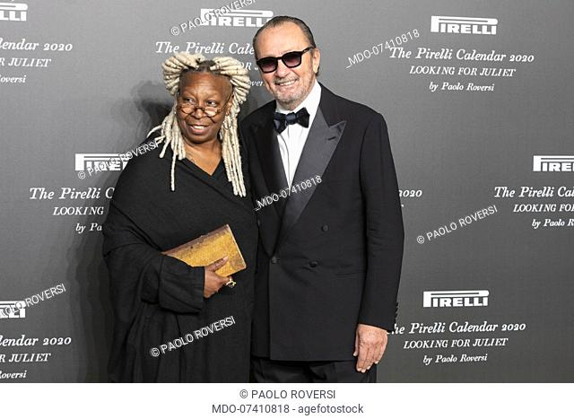 Italian Paolo Roversi and American actress Whoopi Goldberg during the presentation of the Pirelli 2020 Calendar at the Verona Philharmonic Theater