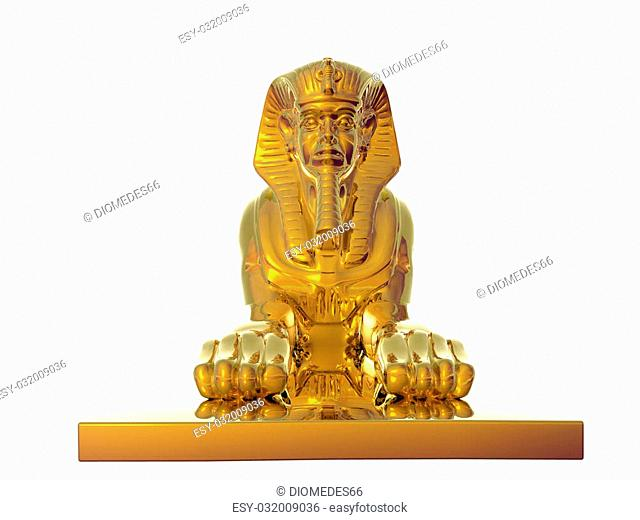 Isolated golden sphinx statue