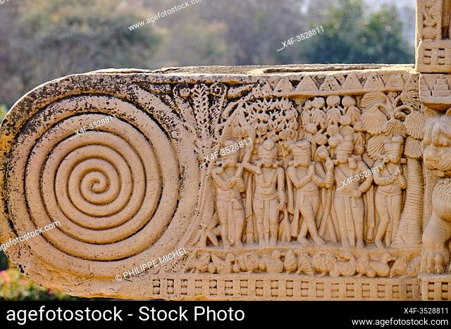 India, Madhya Pradesh state, Sanchi, Buddhist monuments listed as World Heritage by UNESCO, the main stupa a 2200 year old Buddhist monument built by Emperor...