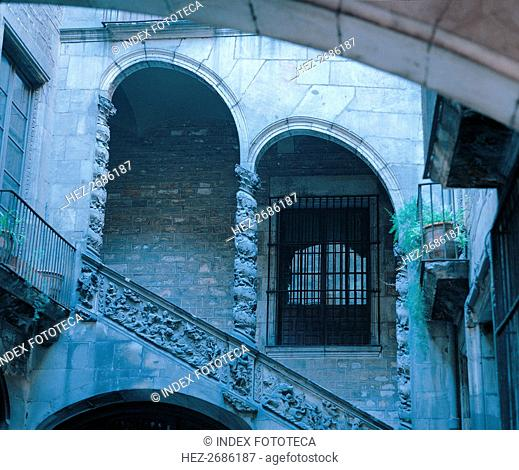 Detail of the staircase in the courtyard of the Dalmases Palace, Catalan baroque architecture fro?