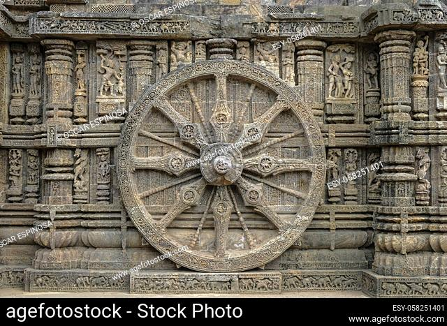 Detail of the Sun Temple was built in the 13th century and designed as a gigantic chariot of the Sun God, Surya, in Konark, Odisha, India