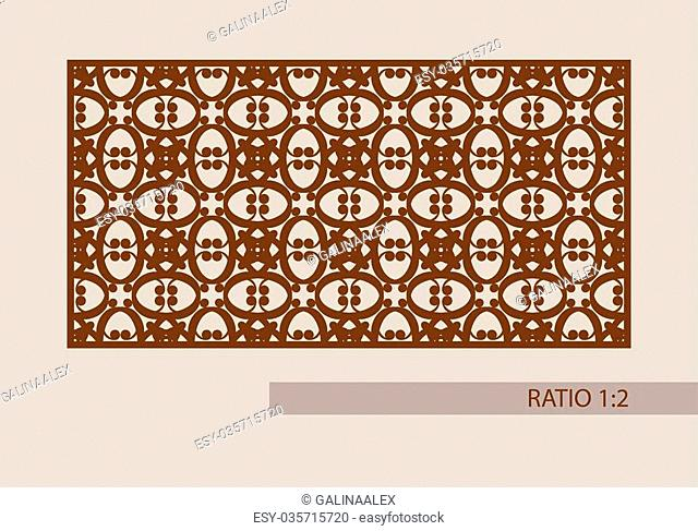 Geometric ornament. The template pattern for decorative panel. A picture suitable for printing, engraving, laser cutting paper, wood, metal