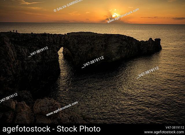 Sunset at the Pont d'en Gil, Ciutadella, Menorca, Balearic Islands, Spain