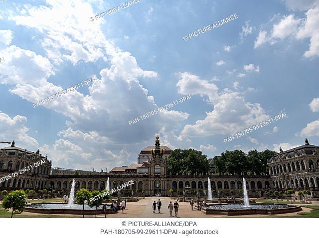 05 July 2018, Germany, Dresden: Touristsin the interior courtyard of the Zwinger palace. Photo: Monika Skolimowska/dpa-Zentralbild/ZB
