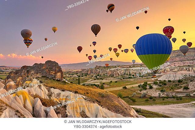 Hot air balloons at sunrise, Goreme, Cappadocia, Turkey