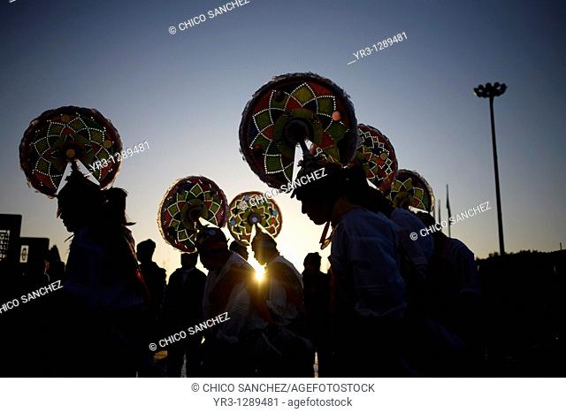 Papantla dancers perform the turkey's dance outside the Our Lady of Guadalupe Basilica in Mexico City. Hundreds of thousands of Mexican pilgrims converged on...