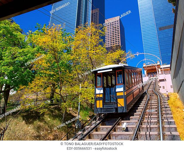 Los Angeles Angels flight funicular in downtown at Hill street