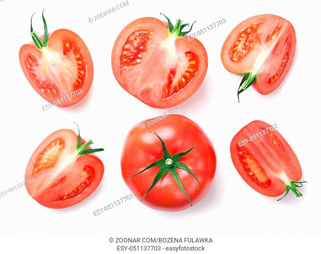 Pink tomatoes isolated on white background. Top view