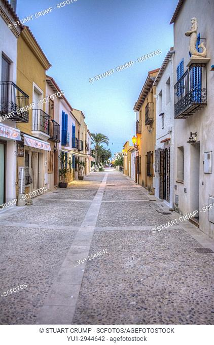 HDR image of the Main street at dusk on the Spanish Island of Tabarca