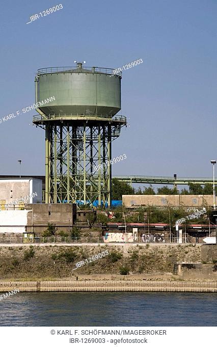 Old water tower on the bank of the Rhine River, RheinPark, Duisburg-Hochfeld, Ruhr area, North Rhine-Westphalia, Germany, Europe