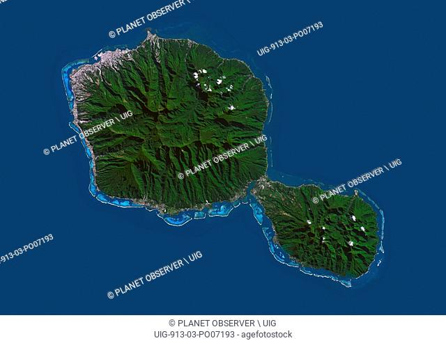 Satellite view of Tahiti, French Polynesia. This image was compiled from data acquired by Landsat 8 satellite in 2014