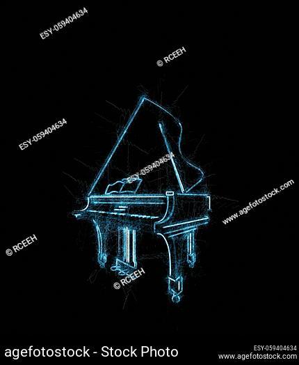 Grand piano grunge sketch over black