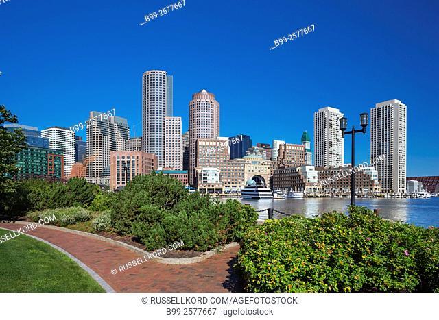 Fan Pier Harborwalk Rowes Wharf Downtown Skyline Inner Harbor South Boston Massachusetts Usa