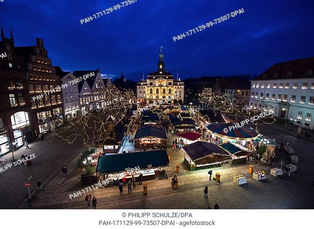 View of the Christmas market at the city hall in Lueneburg, Germany, 29 November 2017. The Christmas market is open until 22 December