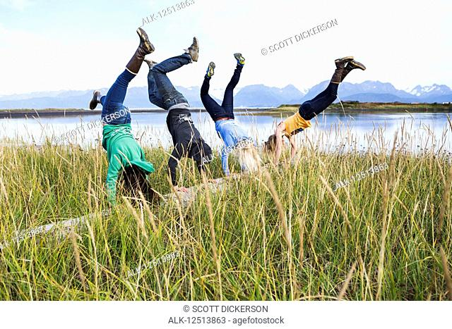 Four friends do handstands on a driftwood log along Kachemak Bay, South-central Alaska; Homer, Alaska, United States of America
