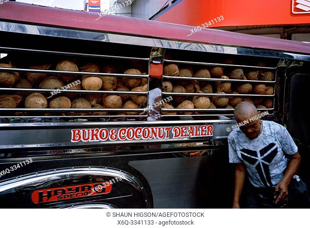 Coconut dealer in Manila in Luzon Metro Manila in the Philippines in Southeast Asia Far East