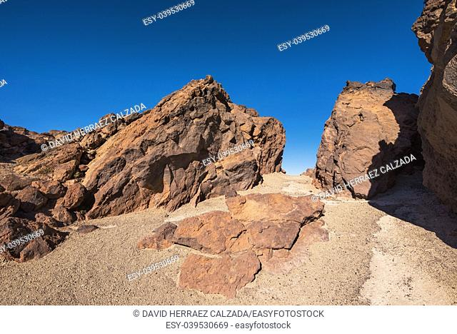 Rocky landscape in Teide national park. This natural scenary was used for the fim clash of Titans, Tenerife, Canary islands, Spain
