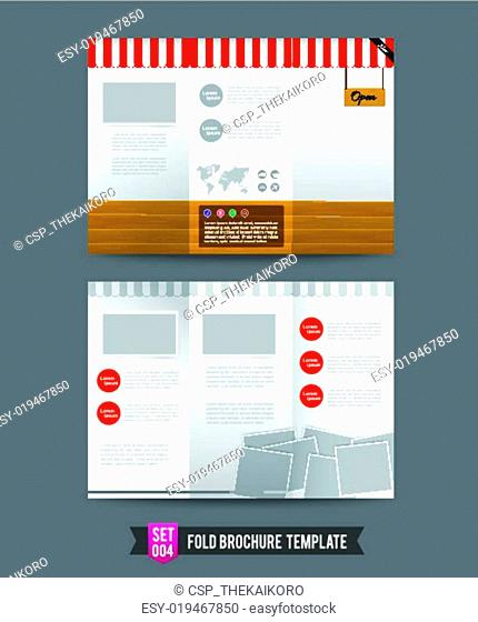 Red shop concept Fold Brochure background template