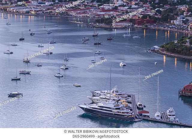 U. S. Virgin Islands, St. Thomas, Charlotte Amalie, Havensight Yacht Harbor, elevated view, dusk