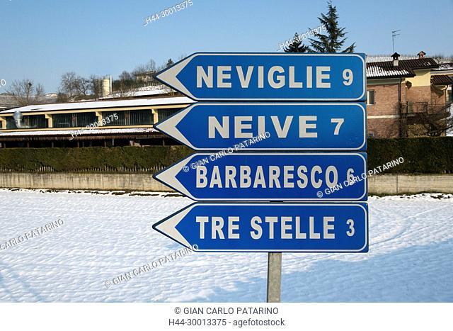 Langhe, Piedmont, Italy, panorama of Piedmont Langhe-Roero and Monferrato in the World Heritage List of UNESCO Street signs Italy, Piedmont