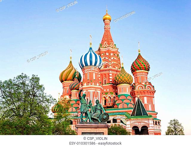 Saint Basil Cathedral on Red square, Moscow at sunset