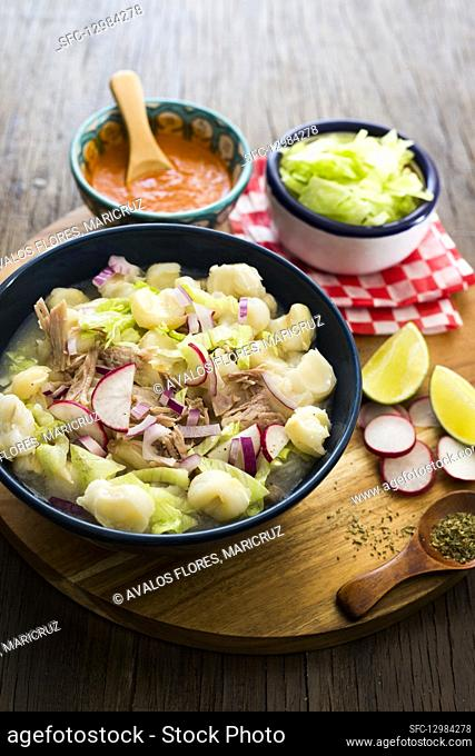 Pozole Blanco (stew with hominy and pork, Mexico)