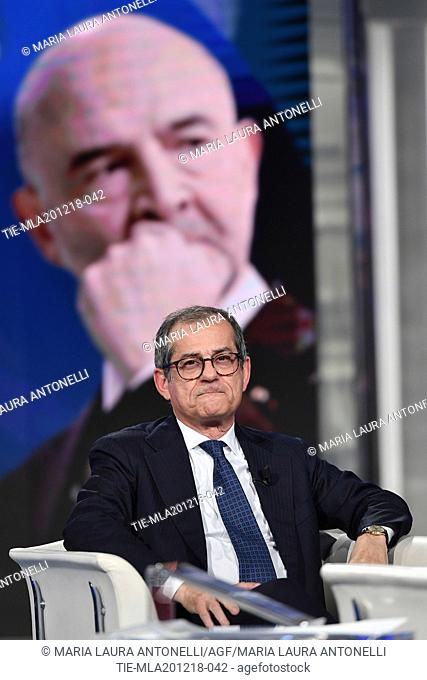 Italian Minister of Economy and Finance Giovanni Tria during the tv show Porta a porta, Rome, ITALY-19-12-2018