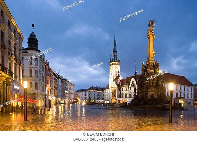 Czech Republic - Northern Moravia - Olomouc. Upper Square (Horní námestí). Holy Trinity Column. UNESCO World Heritage List, 2000. Early evening lights
