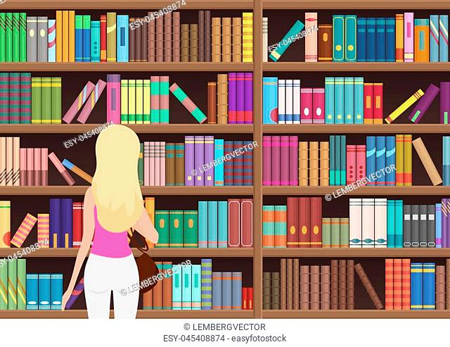 Young pretty blond woman chooses a book in the library. Vectror illustration