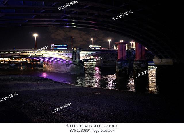 Buses Blackfriars Bridge, London, England