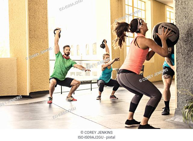Group of adults doing workout