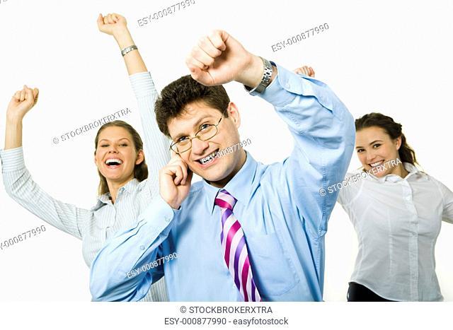 Portrait of happy business people raising hands