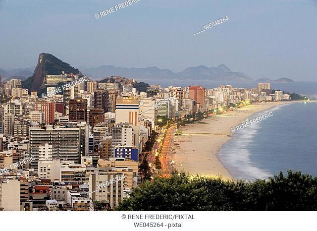View of Ipanema Beach and Southern Zone of Rio de Janiero, Brazil from atop of Rua Apanena, Mirante do Penhasco dois Irmaos