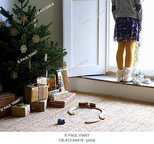 Girl with Christmas tree and gifts