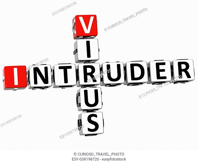 3D Virus Intruder Crossword on white background