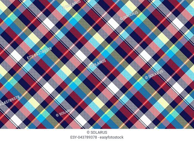 Blue check pixel fabric texture seamless pattern. Vector illustration