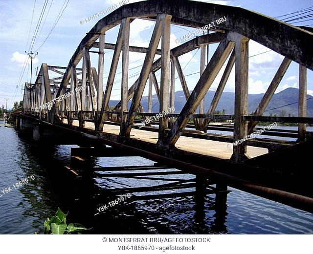 Old bridge of Kampot, Cambodia, panoramic view