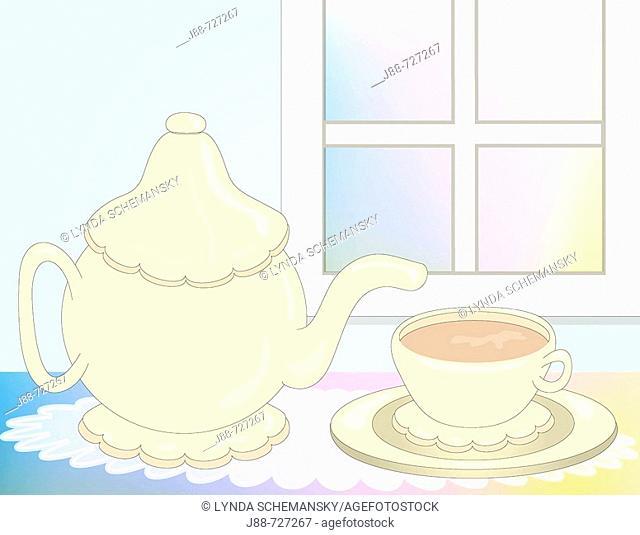 Tea pot and cup of tea