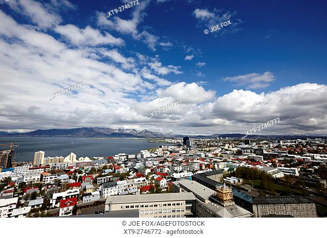 aerial view over the northern end and flaxfloi city of reykjavik Iceland