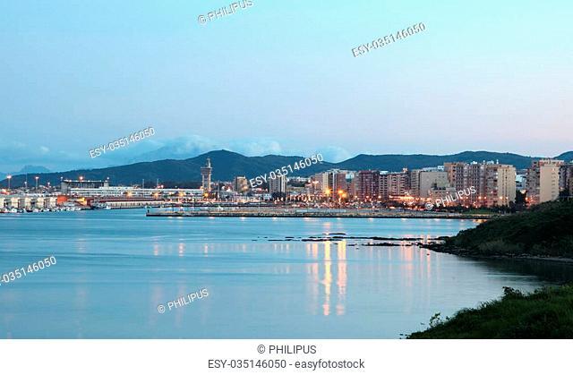 City of Algeciras at dusk. Province of Cadiz, Andalusia Spain