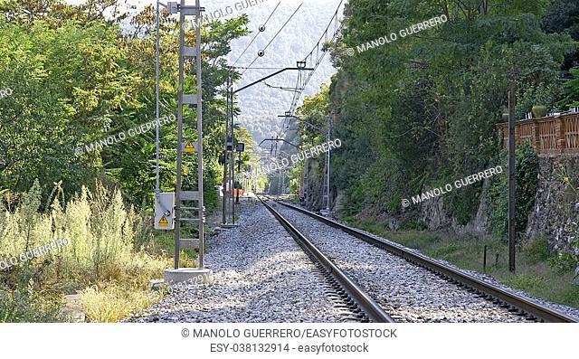 Railroad tracks in El Figaró, Barcelona, Catalunya, Spain