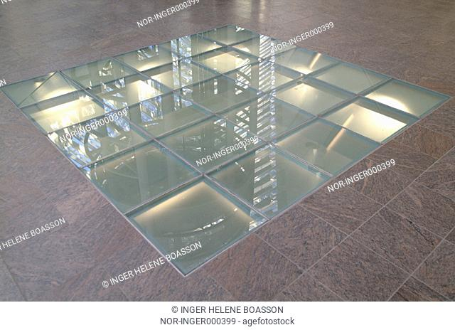 Light, glass and tiles in the floor in Smaralind ( Shopping Mall )