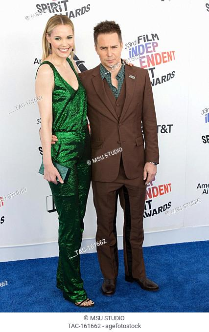Leslie Bibb and Sam Rockwell attend the Independent Spirit Awards on March 3, 2018 in Santa Monica, California