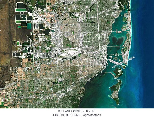 Colour satellite image of Miami, Florida, USA. Image taken on November 2, 2014 with Landsat 8 data